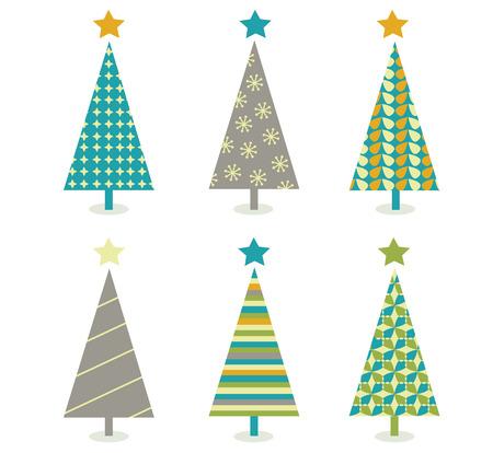 Retro christmas trees icon set. Retro christmas trees in retro design. Vector illustration. 일러스트