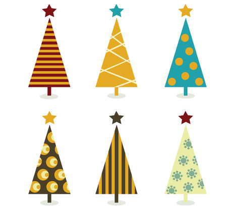 Éléments Retro arbres de Noël. Arbres de Noël conçoivent des éléments isolés sur blanc. Illustration vectorielle.