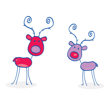 Doodle christmas reindeers isolated on white. Red and purple nosed reindeers. Vector cartoon illustration. Stock Vector - 6048014