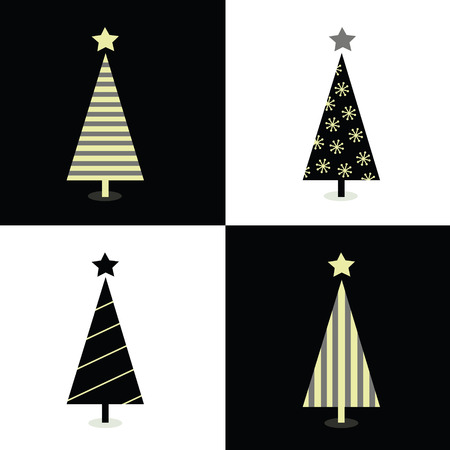 Black and white christmas trees. Geometric christmas trees in 2 colors. Vector illustration. Vector