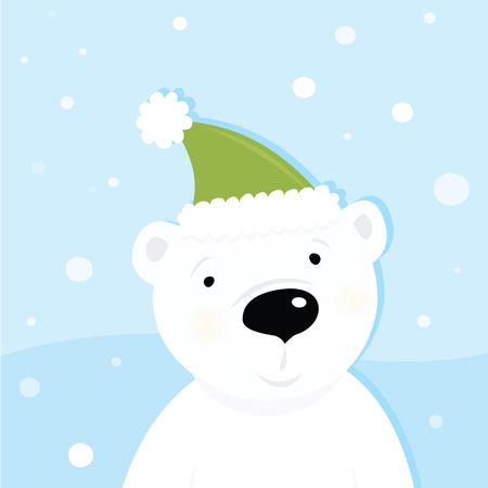 Witte ijsbeer op sneeuw. Schattige ijsbeer karakter met besneeuwde achtergrond. Vectorillustratie cartoon.