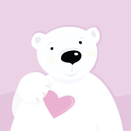 corazon rosa: Oso polar con coraz�n de amor. Car�cter de lindo oso polar con coraz�n rosa. Ilustraci�n de dibujos animados de vector.  Vectores
