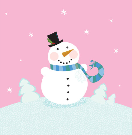 Christmas snowman on pink background. Cute snowman in christmas snowy nature. Vector cartoon illustration. Vector