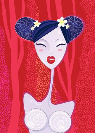Aziatische vrouw � geisha op rode zomer achtergrond. Gestileerde Aziatisch geisha. Vector illustratie.