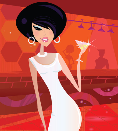 Sexy retro woman in night club. Queen of the disco! Vector Illustration in retro style.