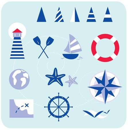 Blau nautische und Sailor-Symbole. Stilisierte Seemann und nautischen Symbole. Im trendigen blau-rote retro-Stil mit Streifen. Alle Ikonen sind handgezeichneten, nur mit Shapes erstellt. Leuchtturm, Boot, Kompass, anzeigen und andere nautische Elemente.