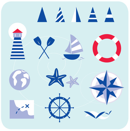 Blue nautical and sailor icons. Stylized sailor and nautical icons. In trendy blue-red retro style with stripes. All Icons are hand-drawn, created only with shapes. Lighthouse, boat, compass, map and other nautical elements.