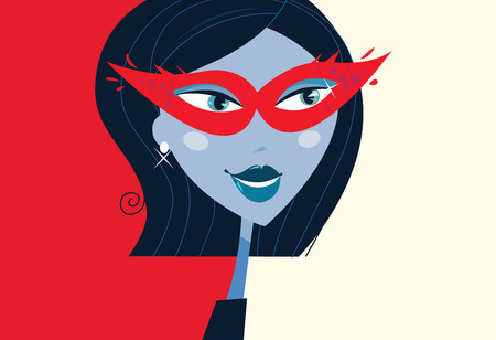 Woman face with masquerade party mask. Mystic woman with provocative masquerade mask on face. Retro stylized illustration. Vector