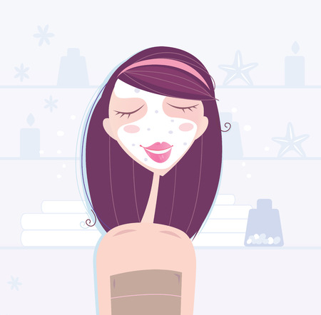 feminity: Spa & beauty: woman taking skin care. Beautiful woman taking care about skin. Natural cosmetics in the background. See more from my spa & beauty illustration. Illustration
