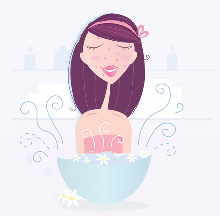 Woman is taking camomile skin care. Girl with acne is taking nature camomile skin care. See similar spa &, wellness illustrations from my portfolio! Illustration