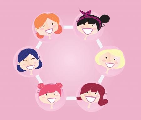 business discussion: Grupo de redes de mujeres. Ilustraci�n de grupo de la red de mujeres. Formato vectorial.
