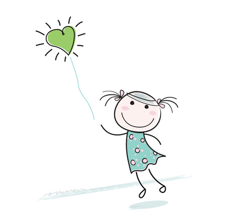 Small girl with heart shaped balloon. Beautiful girl character with green balloon isolated on white background. Stock Vector - 6325616