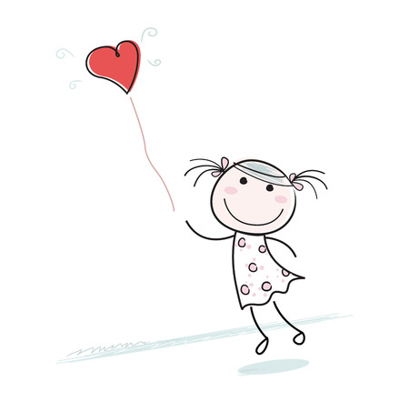 Small girl with heart shaped balloon. Beautiful girl character with red balloon isolated on white background.  Vector