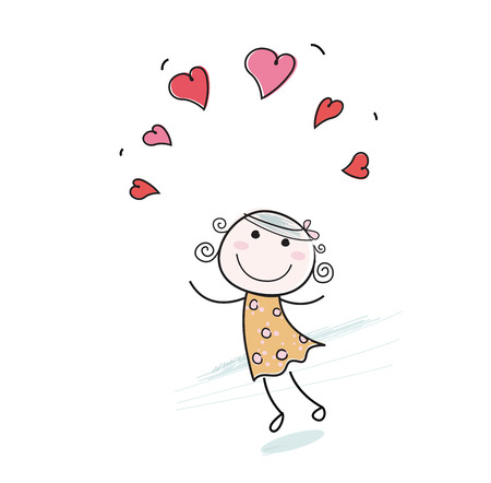 Doodle girl with love hearts. Small girl with red hearts isolated on white background. Stock Vector - 6325619