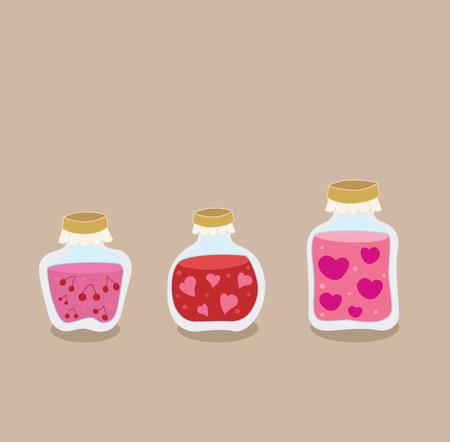 frutta sciroppata: Fragola, ciliegia e amore Jam in scatola di marmellata di frutta riempito in barattoli. Stilizzato cuori fragola, ciliegia e amore - cibo eccellente per il giorno di San Valentino.