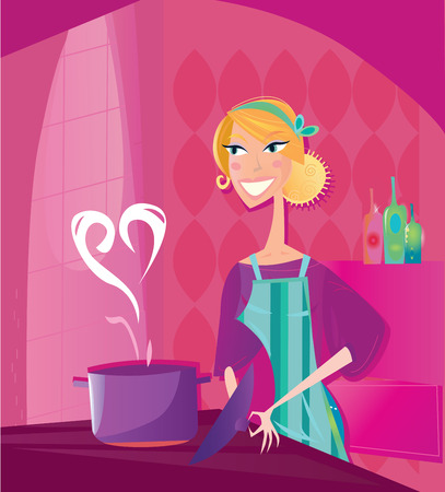 Woman is cooking valentines food with love. Vector