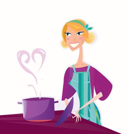 Cocinar con amor. Mujer está cocinando a valentines dulces alimentos.