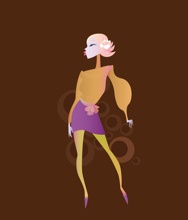 Stylized retro girl on dark - chocolate background.  Vector