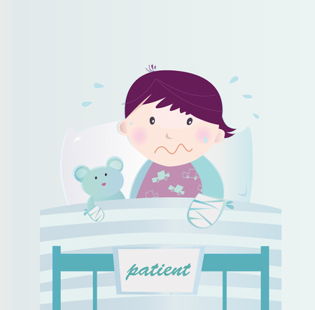 Ill child with broken hand in the hospital. Cute small child lying in the hospital bed with illness. Vector cartoon Illustration of child with broken hand. Vector