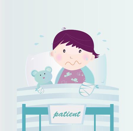 hospital dibujo animado: Niño enfermo con mano rota en el hospital. Lindo niño pequeño que yacen en la cama del hospital con la enfermedad. Caricatura de vector de ilustración de niño con la mano rota.