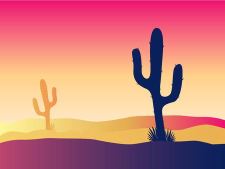 cactus desert: Cactus woestijn zons ondergang. Tafereel met woestijn cactus planten en onkruid. Zons ondergang in woestijn. Vector illustratie.  Stock Illustratie