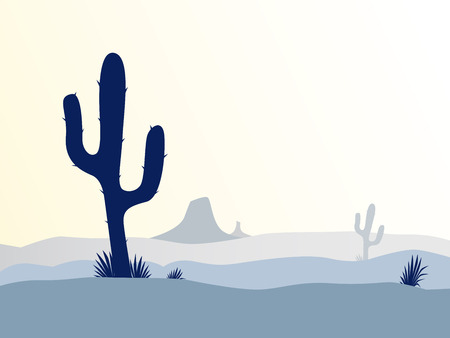 savagery: Cactus desert sunset. Scene with desert cactus plant, weeds and mountains. Sunset in desert in retro style. Vector Illustration.
