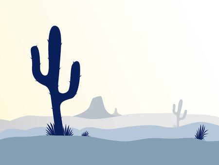 cactus desert: Cactus woestijn zons ondergang. Scène met woestijn cactus plant, onkruid en bergen. Zons ondergang in de woestijn in retro stijl. Vector illustratie. Stock Illustratie