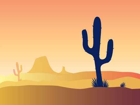 savagery: Cactus desert sunset. Scene with desert cactus plant and weeds. Sunset in desert. Vector Illustration. Illustration