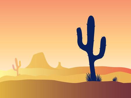 cactus desert: Cactus woestijn zonsondergang. Scène met woestijn cactus planten en onkruid. Zonsondergang in de woestijn. Vectorillustratie. Stock Illustratie