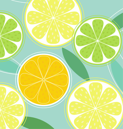 Citrus fruit background vector - Lemon, Lime and Orange. Citrus texture background with slices of lemon, lime and orange. Vector stylized background.  Vector