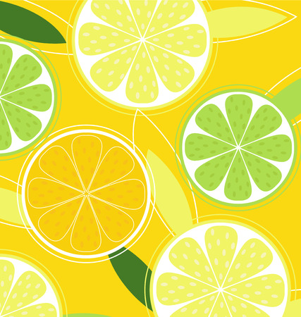 Citrus fruit background vector - Lemon, Lime and Orange. Citrus texture background with slices of lemon, lime and orange. Vector stylized background.  Stock Vector - 6444730