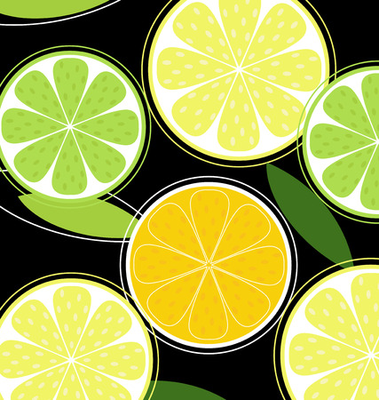 Citrus fruit on black background (vector). Lemon, lime and orange on black background. Stylized vector illustration isolated on black.  Vector