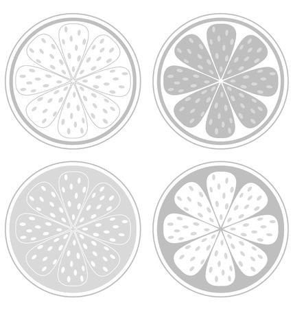 them: Fette di agrumi isolati su sfondo bianco. Vettore stilizzato fette di agrumi isolati su sfondo bianco. Elementi di design in bianco e nero. Dare loro il proprio colore!