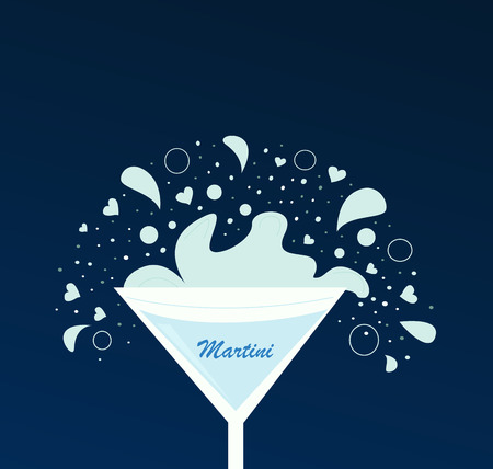 Martini drink in glass. Fresh martini drink on dark blue background. Vector Illustration of  alcohol drink. Vector