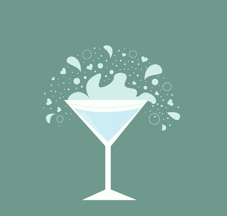 Martini drink in glass. Fresh martini drink on neutral background. Vector Illustration of  alcohol drink in retro style. Stock Vector - 6478931