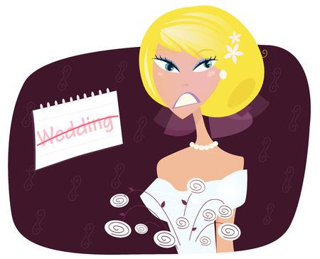 Mariée dans la dépression. Jeune femme triste dans la dépression. Elle est frustrée par le mariage. Illustration vectorielle.