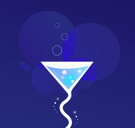 Party nacht: Martini alcohol tropisch drankje. Nieuwe martini drankje gestileerd op donker blauwe achtergrond. Vector illustratie van feest drankje.  Vector Illustratie