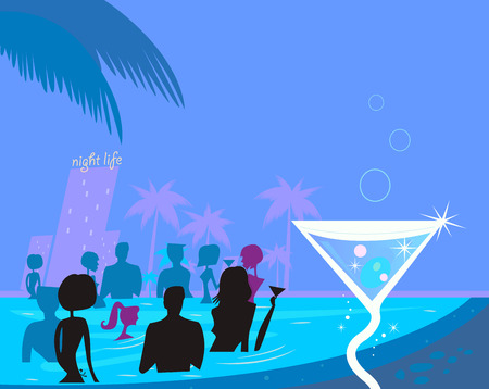 Water party night: People in pool & fresh Martini drink. People in night pool. Vector illustration in retro style. Stock Vector - 6478937