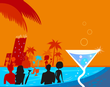 nue plage: Water night party: People in pool & fresh Martini drink. Beach party people in night pool. Vector illustration in retro style. Beautiful blue - red vibrant colors!