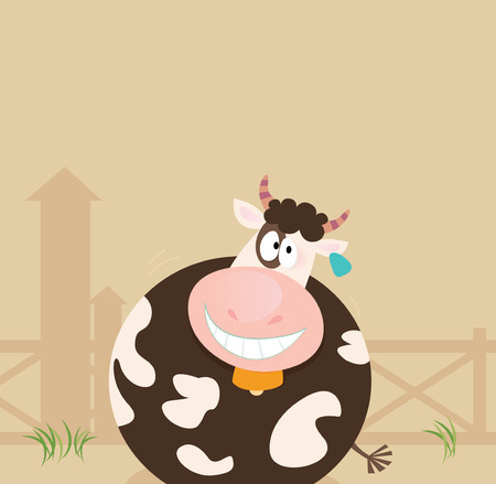 hog: Farm animals: Cow. Farm scene with cow. Vector cartoon Illustration. Illustration