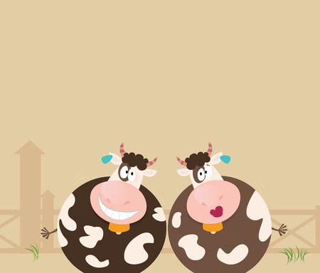 Farm animals: two happy cows. Two happy animals on farm. Happy cow characters illustration. Vector