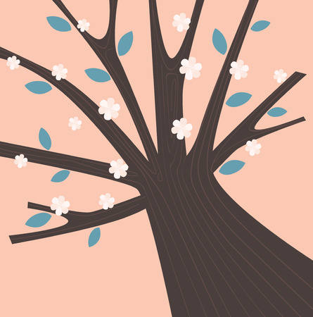 Spring tree with blossom flowers. Spring is here! Simple tree with leafs and blossom flowers. Vector Illustration in retro colors. Vector