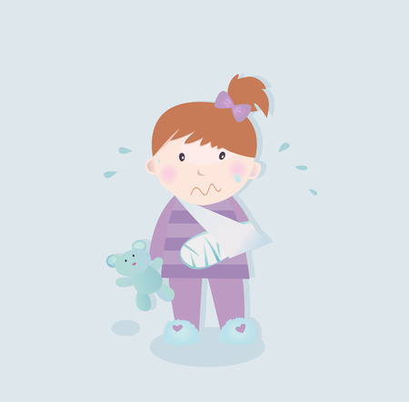 orthopedics: Small patient - child with fractured bone. Small crying child with fractured bone and blue teddy bear. Vector Illustration.