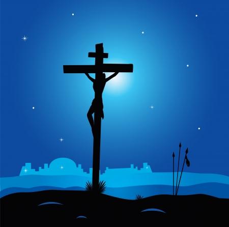 calvary: Easter calvary scene with cross in dark night. Crucifixion of Jesus Christ. Vector Illustration. Illustration