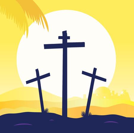 messiah: Scena di calvario al tramonto con croci. Crocifissione di Ges�. Illustrazione vettoriale. Vettoriali