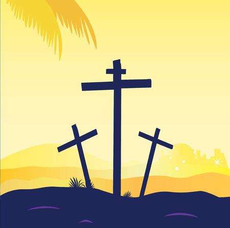 messiah: Crocifissione di Ges� - scena del Calvario con tre croci. Scena di calvario al tramonto con croci. Crocifissione di Ges�. Illustrazione vettoriale.