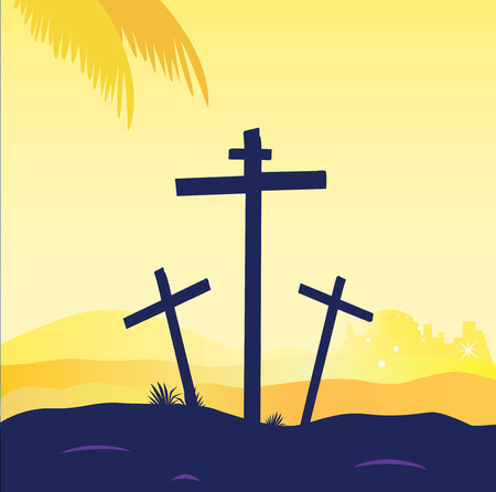 crucify: Jesus crucifixion - calvary scene with three crosses. Calvary sunset scene with crosses. Jesus crucifixion. Vector Illustration.