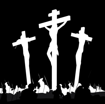 catholicism: Crucifixion calvary scene in black and white. Calvary crucifixon scene with three crosses. Vector Illustration.