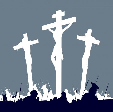 jesus on cross: Crocifissione di Ges� Cristo - scena con tre croci. Calvario crucifixon scena con tre croci. Illustrazione vettoriale.