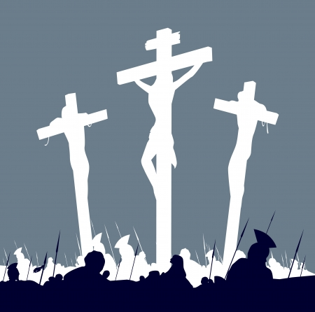 cruz de jesus: Crucifixi�n de Jes�s Cristo - escena con tres cruces. Calvario crucifixon escena con tres cruces. Ilustraci�n vectorial. Vectores